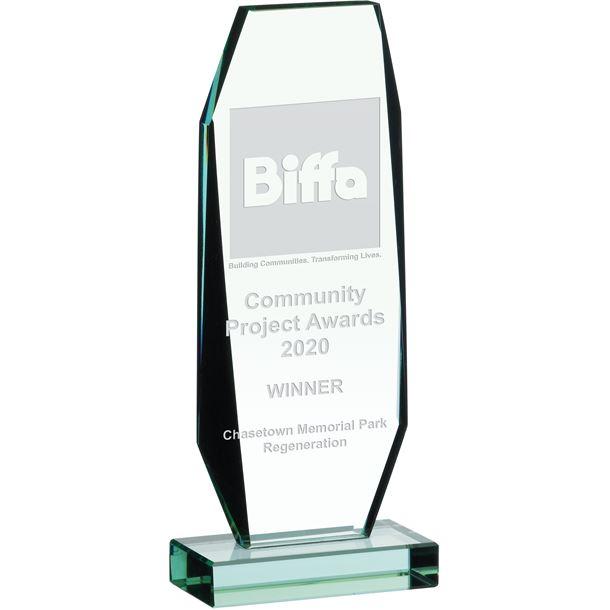 "Jade Glass Crystal Award 24cm (9.5"")"