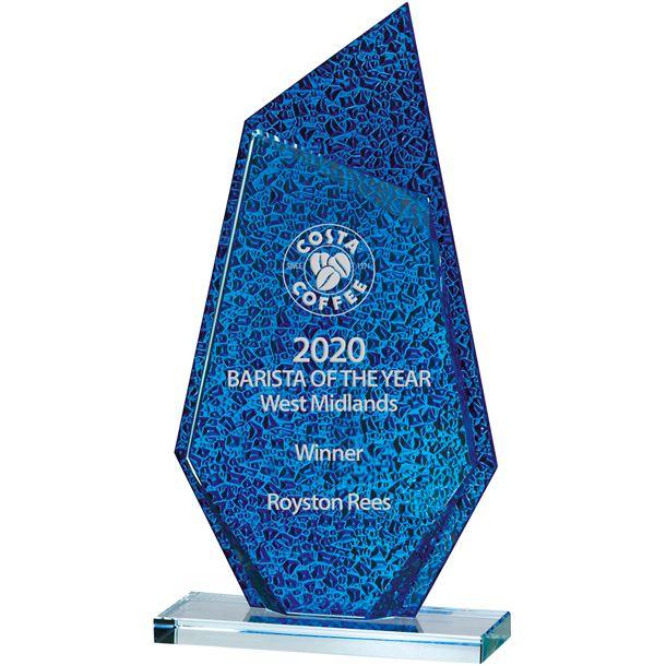 "Atlantic Blue & Clear Glass Award 19cm (7.5"")"