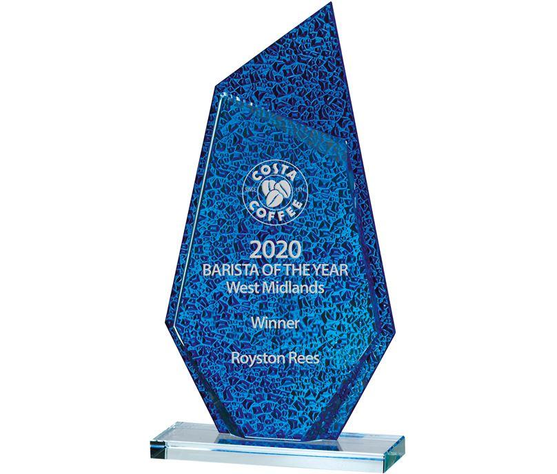 "Atlantic Blue & Clear Glass Award 25cm (9.75"")"