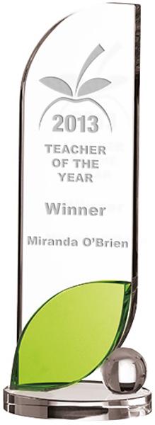 "Optical Crystal Leaf Plaque Glass Award 25.5cm (10"")"