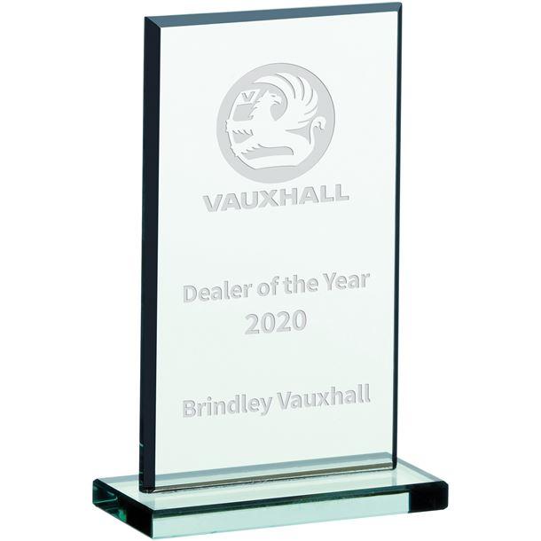 """Rectangle Jade Glass Plaque Award 15cm (6"""")"""