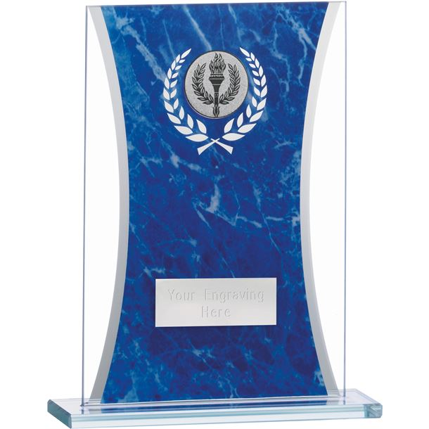 """Marbled Blue & Clear Rectangle Glass Award 16.5cm (6.5"""")"""