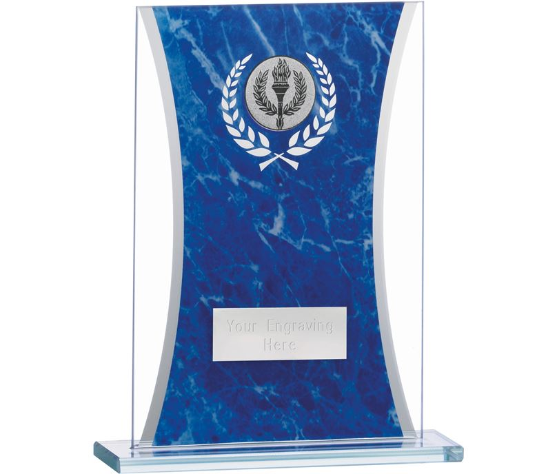 "Marbled Blue & Clear Rectangle Glass Award 16.5cm (6.5"")"
