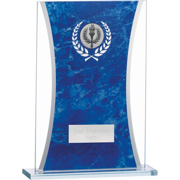 "Marbled Blue & Clear Rectangle Glass Award 18.5cm (7.25"")"