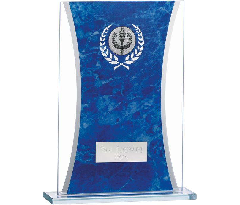 """Marbled Blue & Clear Rectangle Glass Award 18.5cm (7.25"""")"""