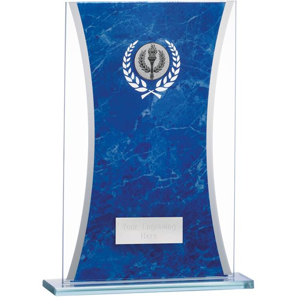 """Marbled Blue & Clear Rectangle Glass Award 20.5cm (8.75"""")"""