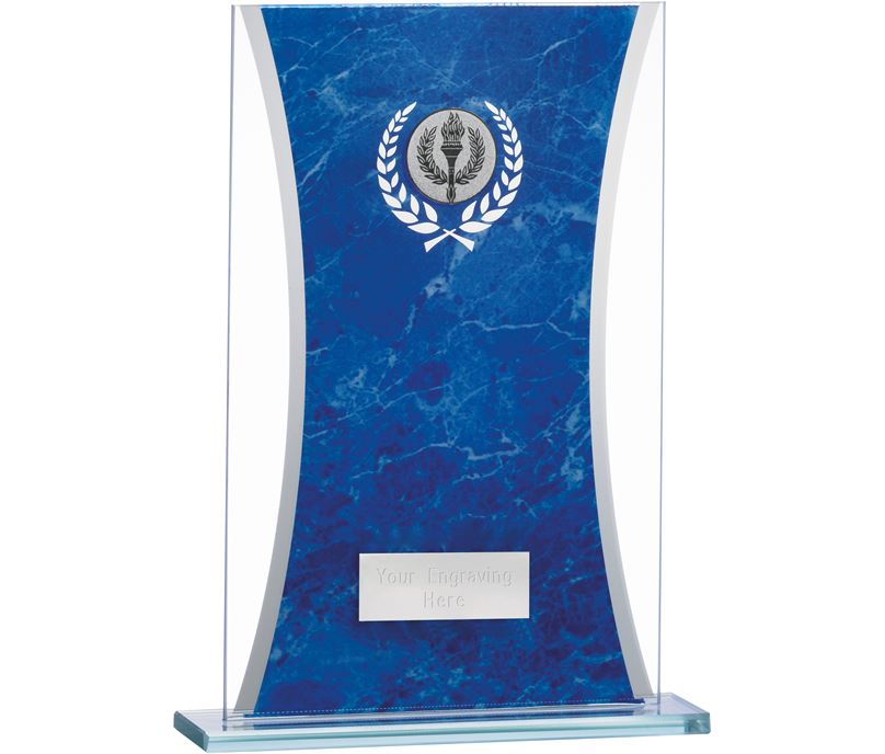 "Marbled Blue & Clear Rectangle Glass Award 20.5cm (8.75"")"