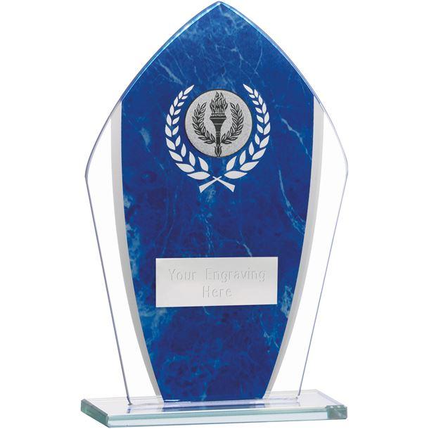 """Marbled Blue & Clear Peak Glass Award 16.5cm (6.5"""")"""