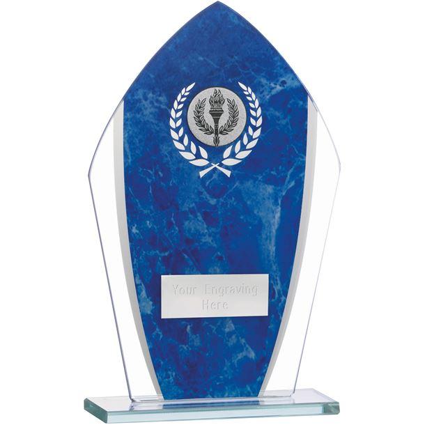 """Marbled Blue & Clear Peak Glass Award 18.5cm (7.25"""")"""