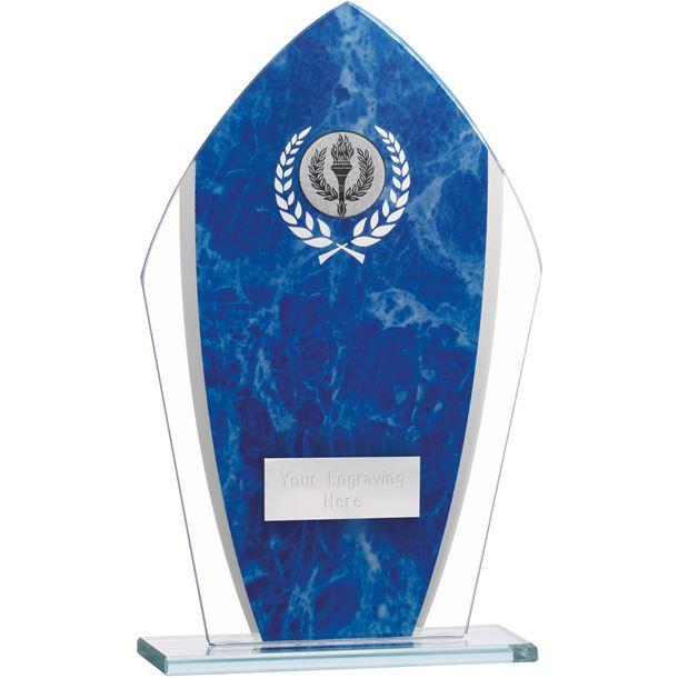 """Marbled Blue & Clear Peak Glass Award 20.5cm (8.75"""")"""