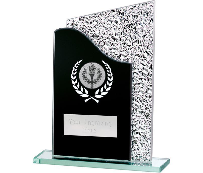 "Duel Wave Black & Shine Laurel Wreath Glass Award 16.5cm (6.5"")"