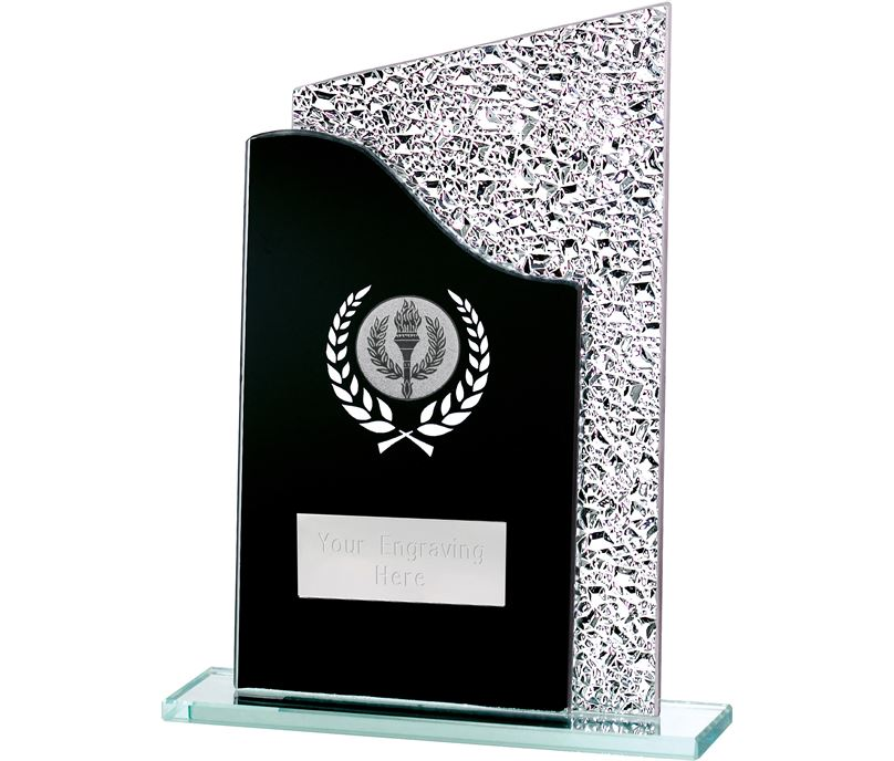 "Dual Wave Black & Shine Laurel Wreath Glass Award 18.5cm (7.25"")"