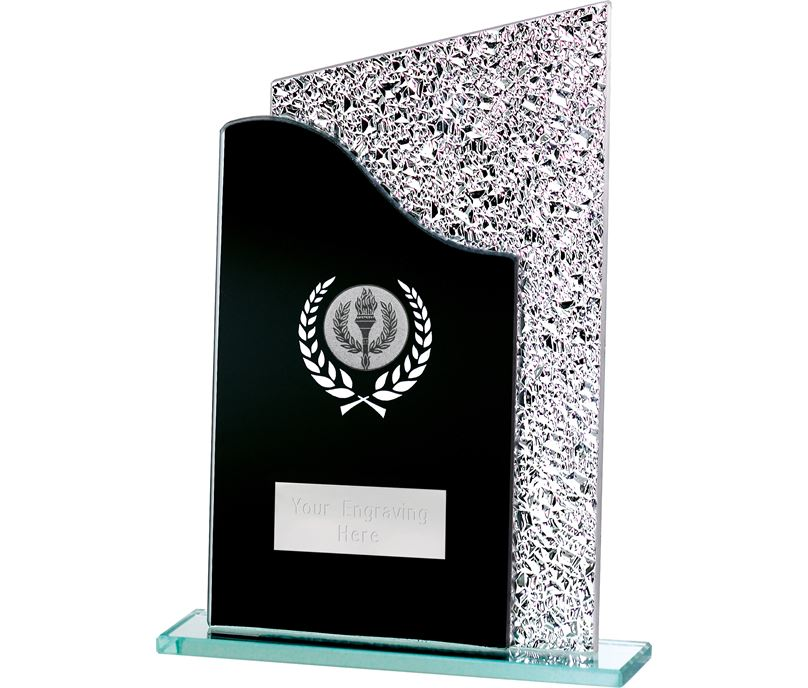 "Dual Wave Black & Shine Laurel Wreath Glass Award 20.5cm (8"")"
