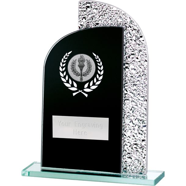 "Dual Curve Black & Shine Laurel Wreath Glass Award 16.5cm (6.5"")"