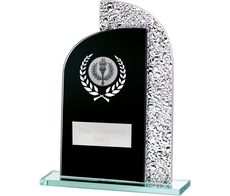 "Dual Curve Black & Shine Laurel Wreath Glass Award 16.5cm (6.5"")"