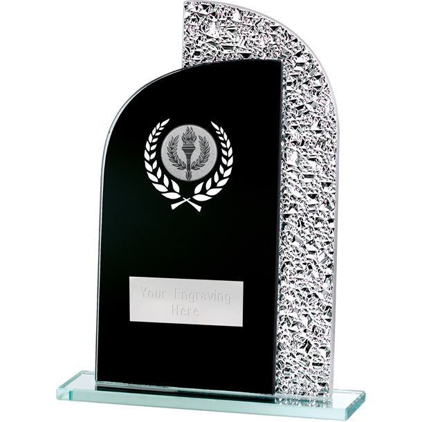 "Dual Curve Black & Shine Laurel Wreath Glass Award 18.5cm (7.25"")"
