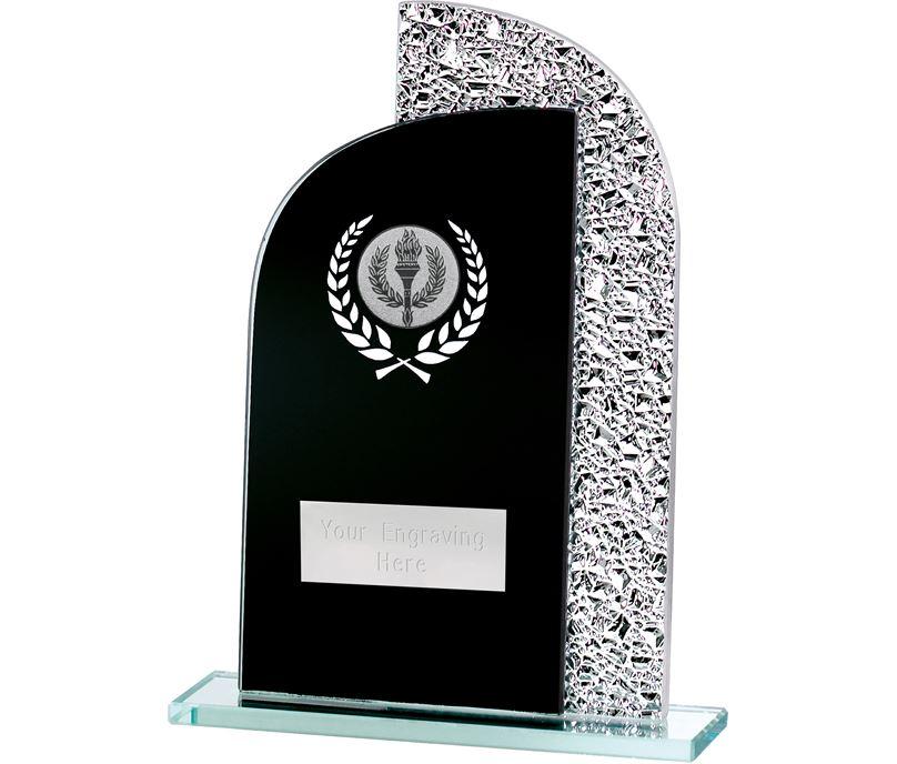 "Dual Curve Black & Shine Laurel Wreath Glass Award 18.5cm (7.25"")"
