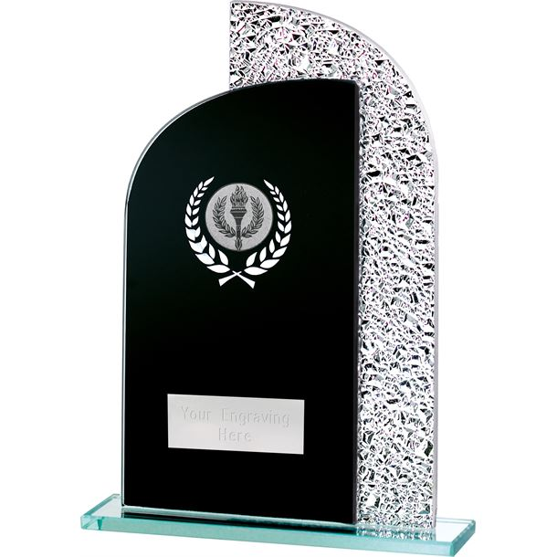 "Dual Curve Black & Shine Laurel Wreath Glass Award 20.5cm (8"")"