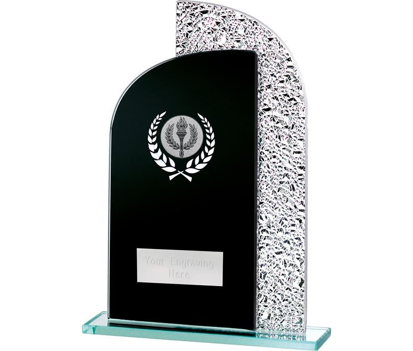 "Duel Curve Black & Shine Laurel Wreath Glass Award 20.5cm (8"")"