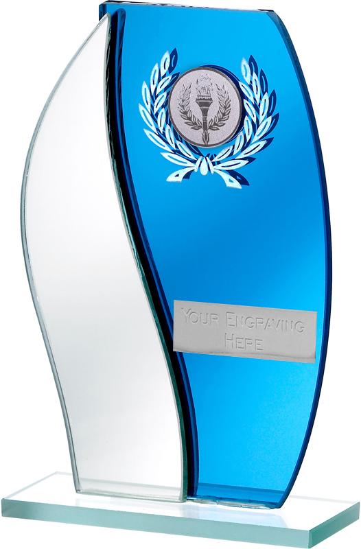 "Blue Mirror Flame Shaped Glass Award 16.5cm (6.5"")"
