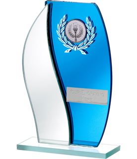 "Blue Mirror Flame Shaped Glass Award 16.5cm (6.5"")"