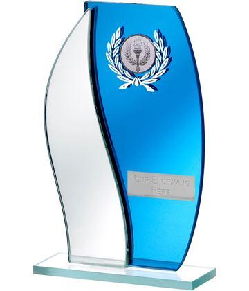 "Blue Mirror Flame Shaped Glass Award 18.5cm (7.25"")"