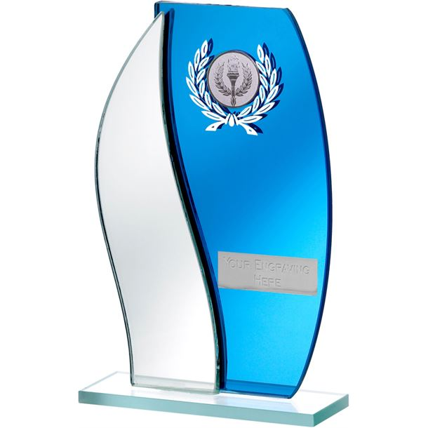 "Blue Mirror Flame Shaped Glass Award 18.5cm (7.25"")"