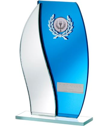 "Blue Mirror Flame Shaped Glass Award 20.5cm (8"")"