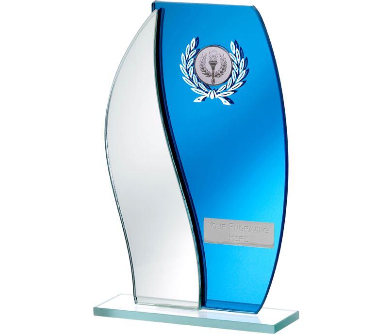 "Blue Mirror Flame Shaped Glass Award 20.5cm (8"")"