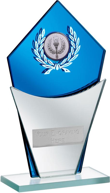 "Blue Mirror Glass Award with Laurel Wreath Design 16.5cm (6.5"")"