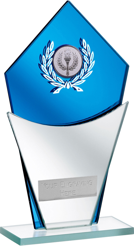 "Blue Mirror Glass Award with Laurel Wreath Design 20.5cm (8"")"