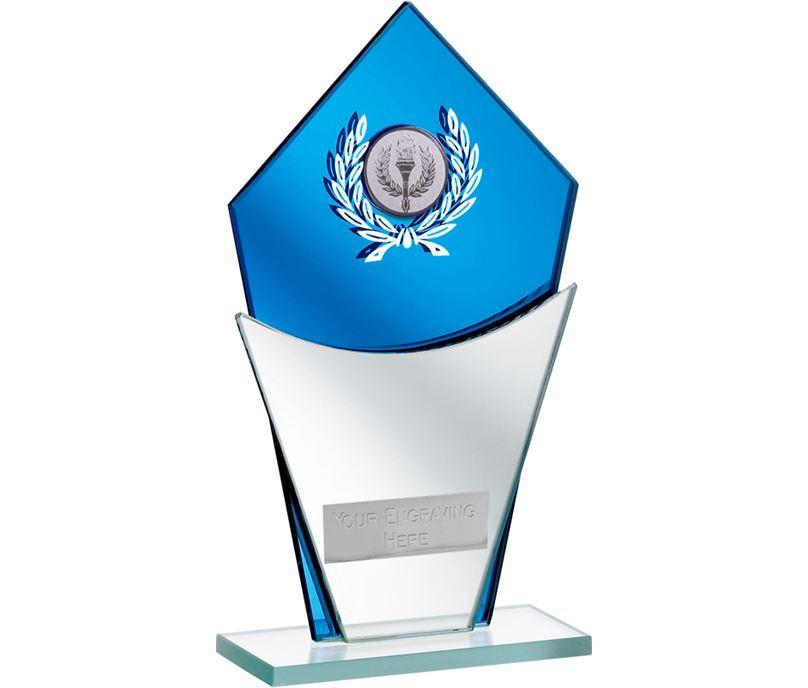 "Blue Mirror Glass Award with Laurel Wreath Design 20.5cm (8"")"