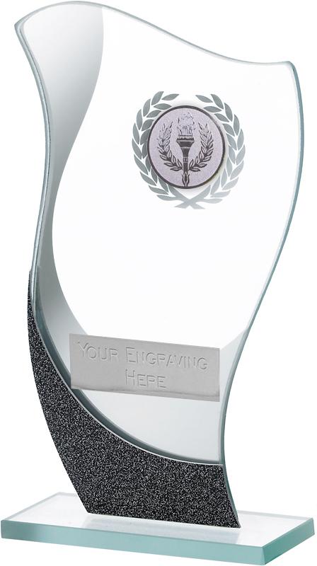 "Flame Shaped Mirrored Glass Award on Glass Base 16.5cm (6.5"")"
