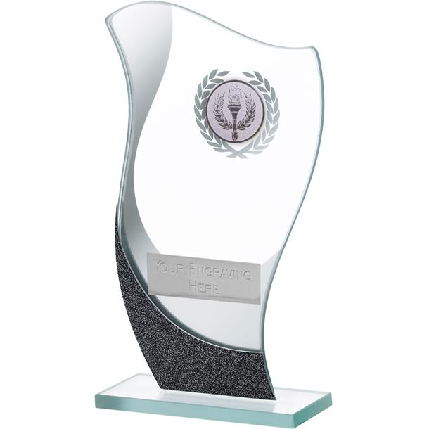 "Flame Shaped Mirrored Glass Award 16.5cm (6.5"")"