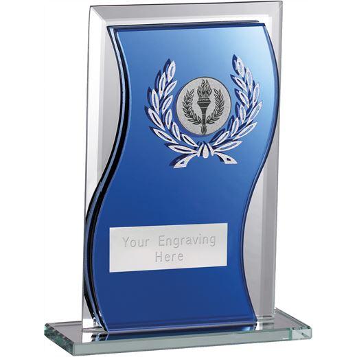 "Blue Mirrored Glass Football Plaque Award 12.5cm (5"")"
