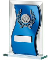 "Blue Mirrored Glass Football Plaque Award 15cm (6"")"