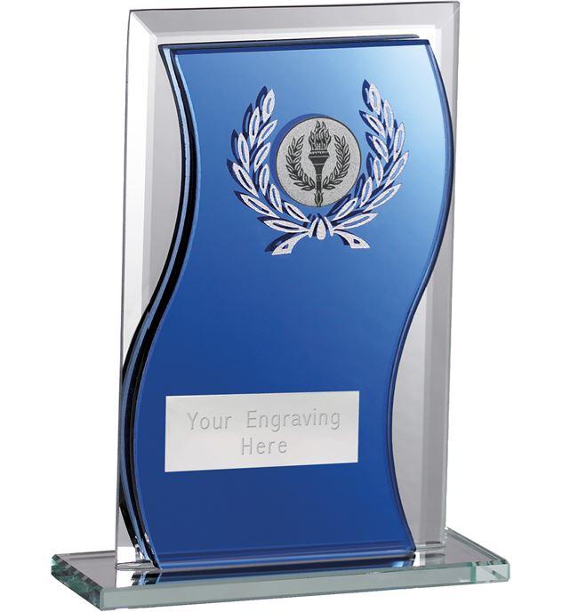 "Blue Mirrored Glass Football Plaque Award 15cm (6"")"