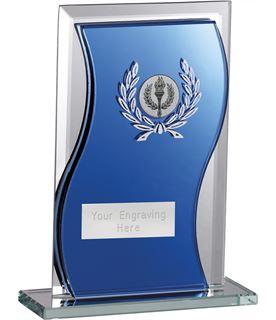 "Blue Mirrored Glass Football Plaque Award 16.5cm (6.5"")"