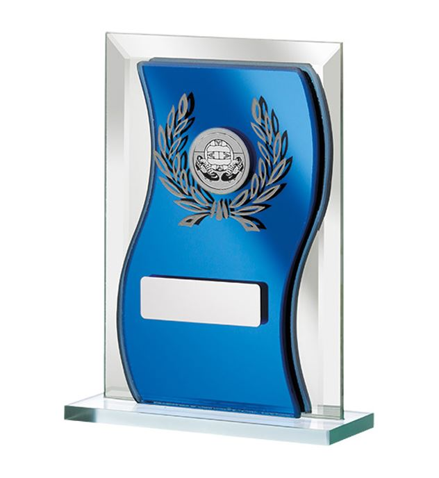 "Blue Mirrored Glass Football Plaque Award 16.5cm (6.5"")"