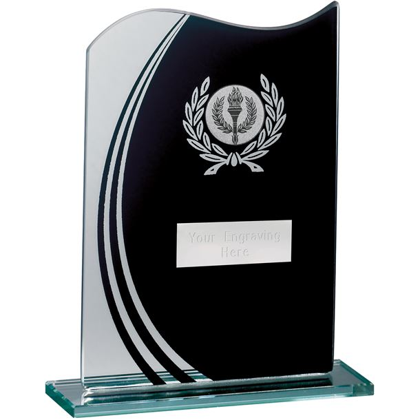 "Wave Black & Clear Laurel Wreath Glass Award 16.5cm (6.5"")"
