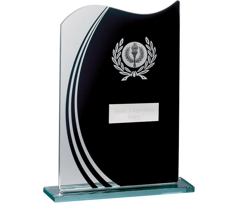 "Wave Black & Clear Laurel Wreath Glass Award 18.5cm (7.25"")"