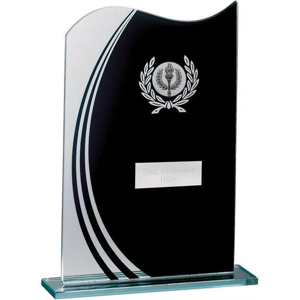 "Wave Black & Clear Laurel Wreath Glass Award 20.5cm (8"")"