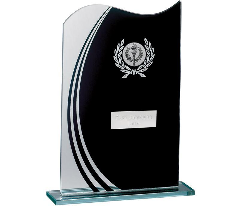 "Wave Black & Clear Laurel Wreath Glass Award 20.5cm (8"")"