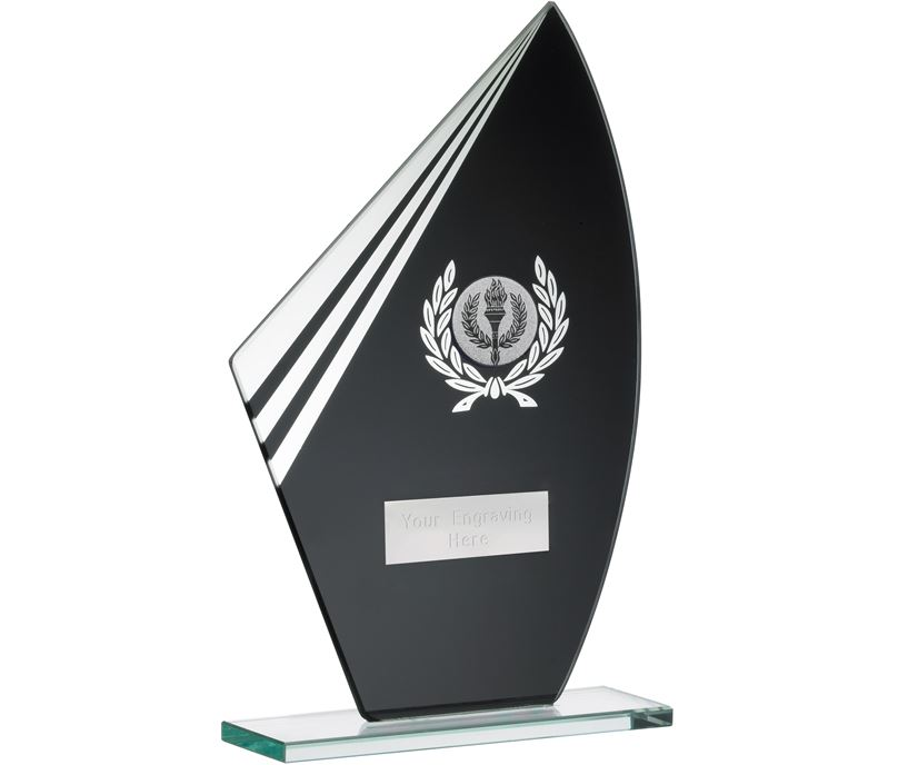 "Bolt Black & Clear Laurel Wreath Glass Award 20.5cm (8"")"