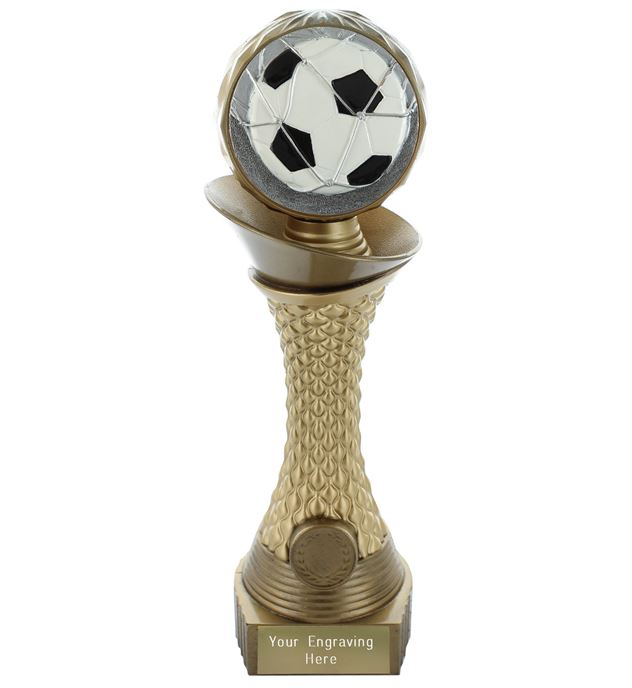 "Football Trophy Heavyweight Hemisphere Tower Gold & Bronze 23cm (9"")"