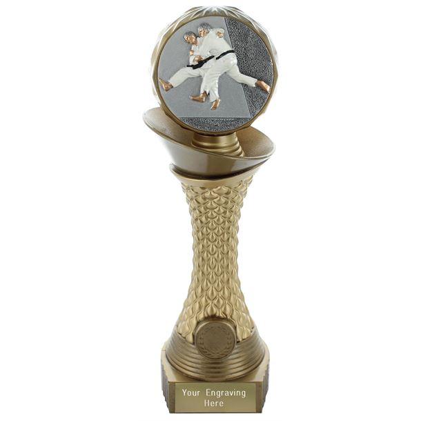 "Judo Trophy Heavyweight Hemisphere Tower Gold & Bronze 23cm (9"")"