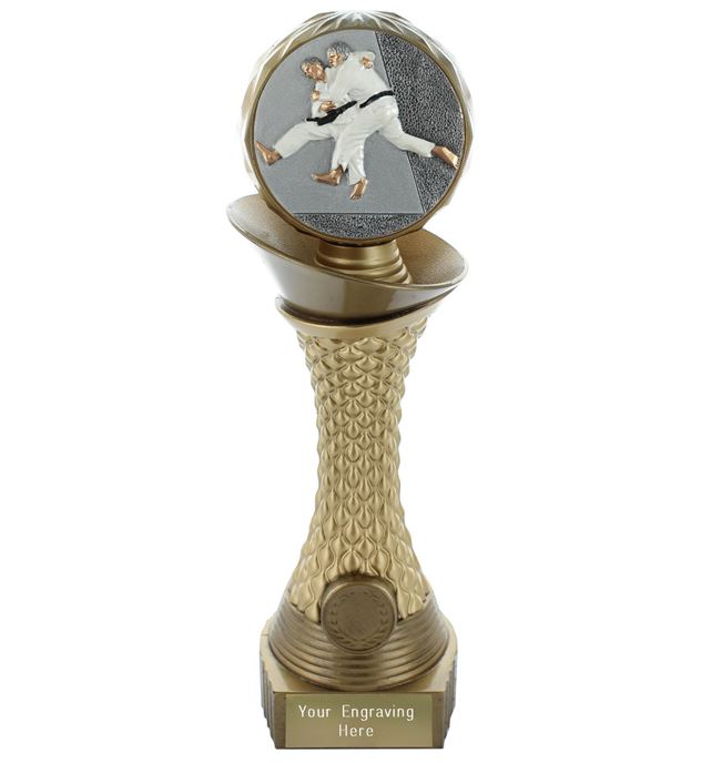 "Judo Trophy Heavyweight Hemisphere Tower Gold & Bronze 30.5cm (12"")"
