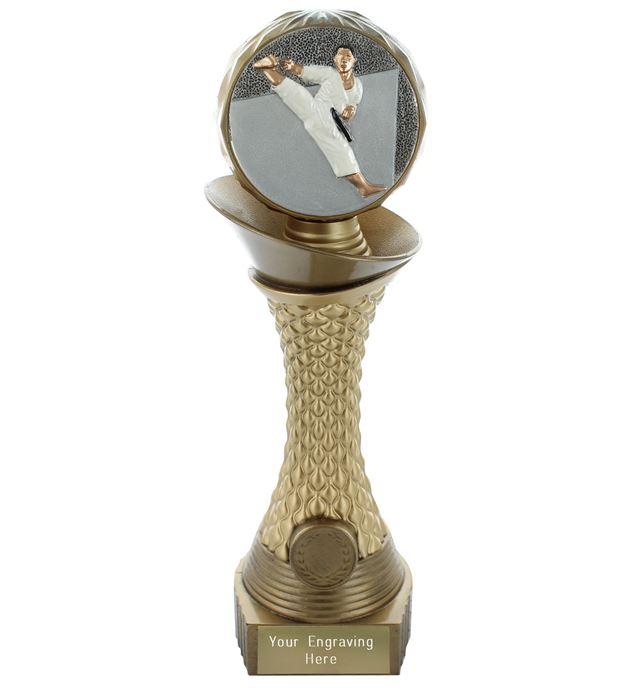 "Karate Trophy Heavyweight Hemisphere Tower Gold & Bronze 30.5cm (12"")"