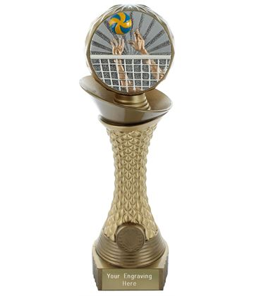 "Volleyball Trophy Heavyweight Hemisphere Tower Gold & Bronze 30.5cm (12"")"