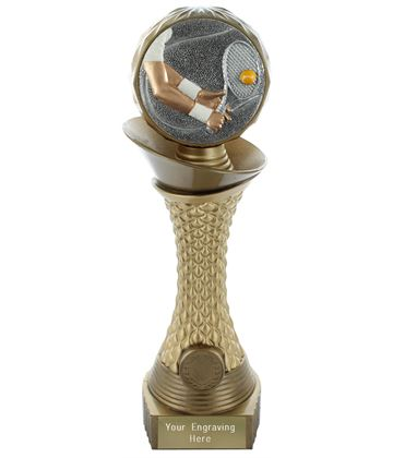 "Tennis Trophy Heavyweight Hemisphere Tower Gold & Bronze 25.5cm (10"")"